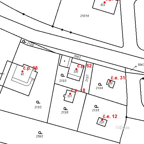Katastrální mapa Stavební objekt Dolní Lomnice 19, Kunice