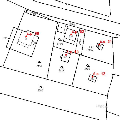 Katastrální mapa Stavební objekt Dolní Lomnice 18, Kunice