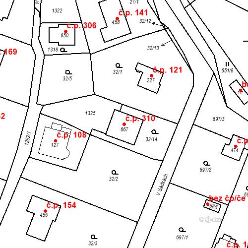 Katastrální mapa Stavební objekt Kunice 310, Kunice