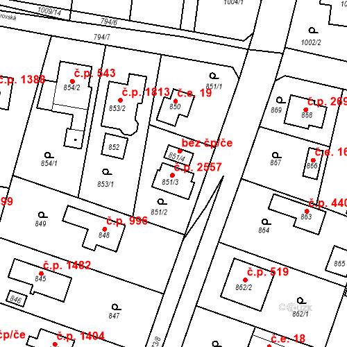 Katastrální mapa Stavební objekt Újezd nad Lesy 2557, Praha