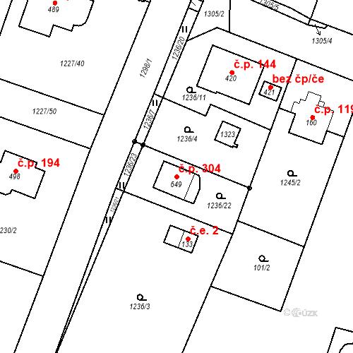 Katastrální mapa Stavební objekt Kunice 304, Kunice
