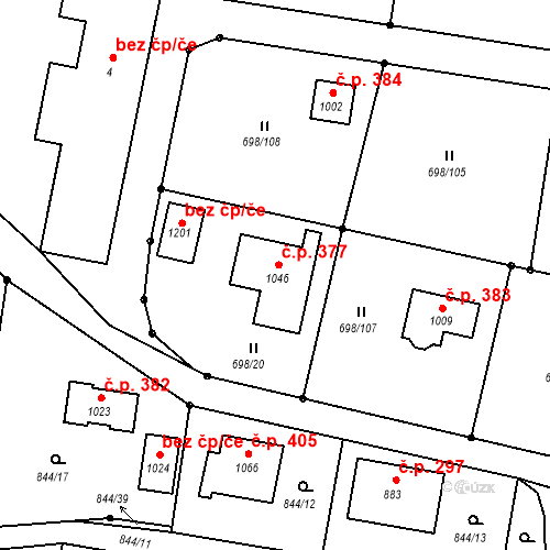 Katastrální mapa Stavební objekt Pyšely 377, Pyšely