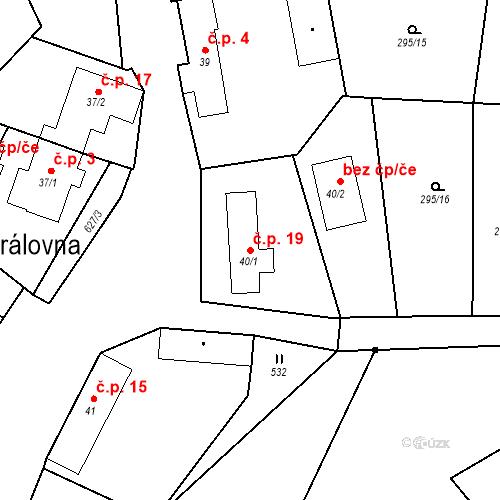 Katastrální mapa Stavební objekt Královna 19, Neustupov