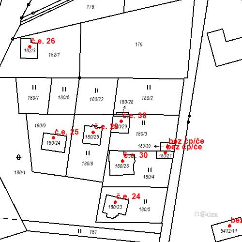 Katastrální mapa Stavební objekt Dubice 38, Česká Lípa