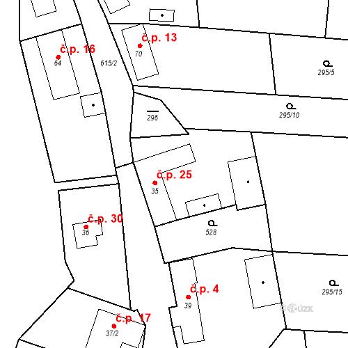 Katastrální mapa Stavební objekt Královna 25, Neustupov