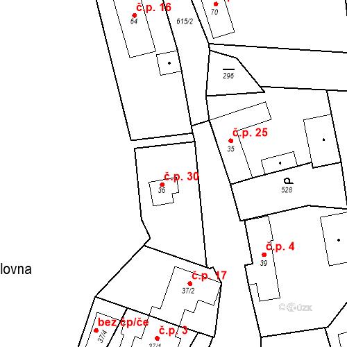 Katastrální mapa Stavební objekt Královna 30, Neustupov