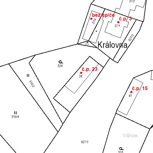 Katastrální mapa Stavební objekt Královna 23, Neustupov