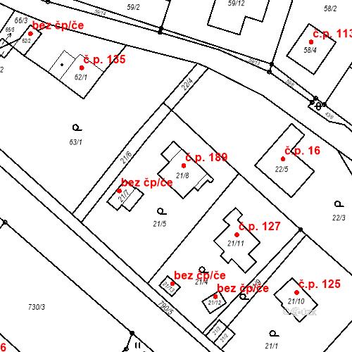 Katastrální mapa Stavební objekt Zahrádky 189, Zahrádky