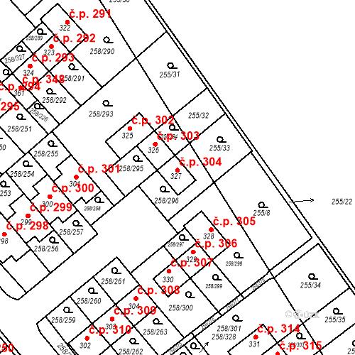 Katastrální mapa Stavební objekt Jenštejn 304, Jenštejn