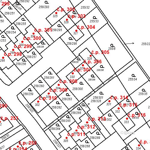 Katastrální mapa Stavební objekt Jenštejn 307, Jenštejn