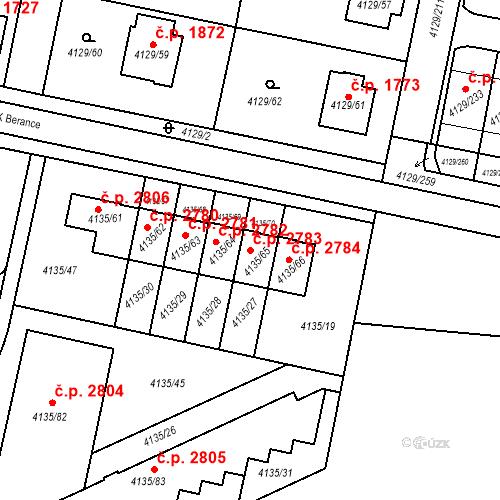 Katastrální mapa Stavební objekt Horní Počernice 2783, Praha