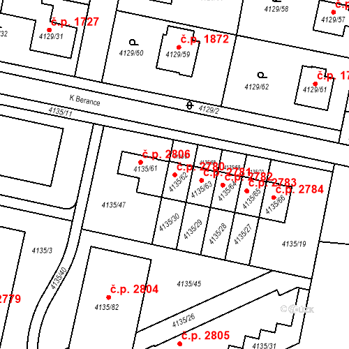 Katastrální mapa Stavební objekt Horní Počernice 2780, Praha