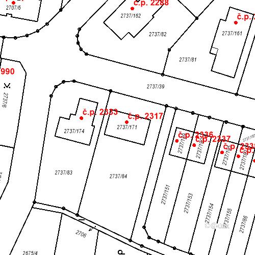 Katastrální mapa Stavební objekt Benešov 2317, Benešov