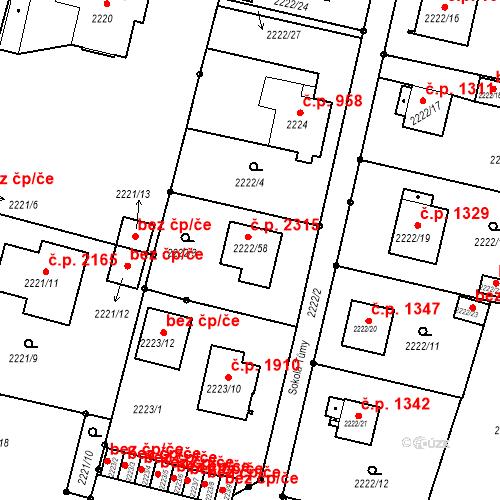 Katastrální mapa Stavební objekt Benešov 2315, Benešov