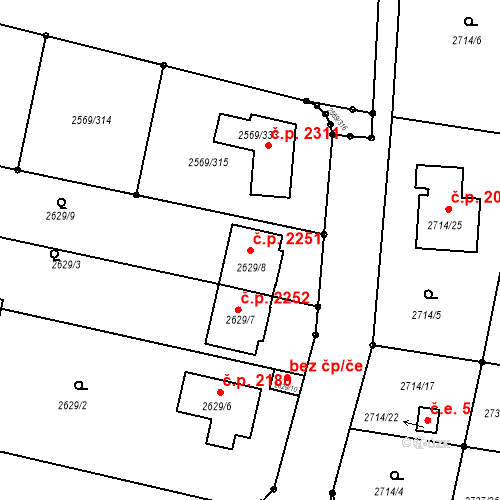 Katastrální mapa Stavební objekt Benešov 2251, Benešov