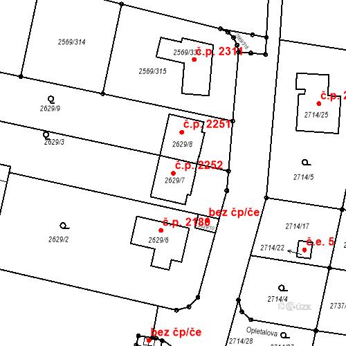 Katastrální mapa Stavební objekt Benešov 2252, Benešov