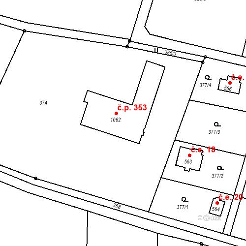 Katastrální mapa Stavební objekt Pyšely 353, Pyšely