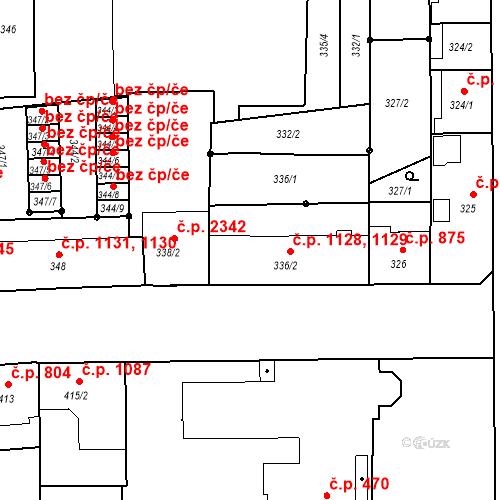 Katastrální mapa Stavební objekt Benešov 1128, 1129, Benešov