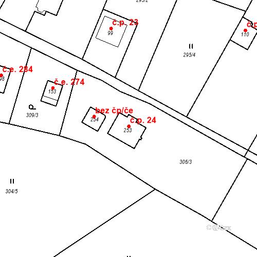 Katastrální mapa Stavební objekt Krámský 24, Velké Popovice