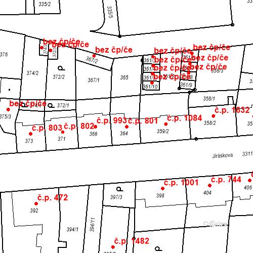 Katastrální mapa Stavební objekt Benešov 801, Benešov