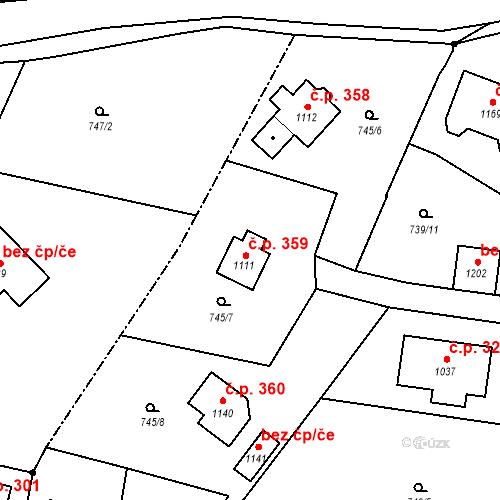 Katastrální mapa Stavební objekt Poříčí nad Sázavou 359, Poříčí nad Sázavou