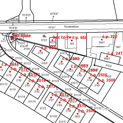 Katastrální mapa Stavební objekt Říčany 2502, Říčany