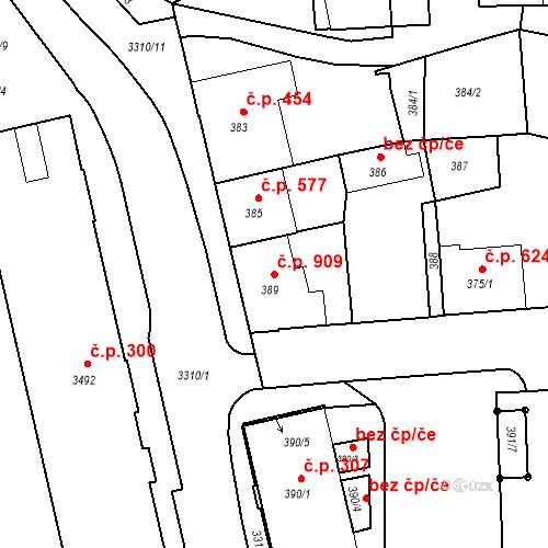Katastrální mapa Stavební objekt Benešov 909, Benešov