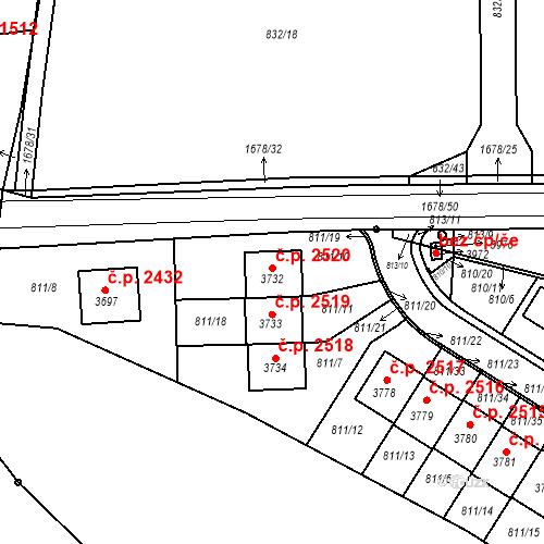 Katastrální mapa Stavební objekt Říčany 2520, Říčany