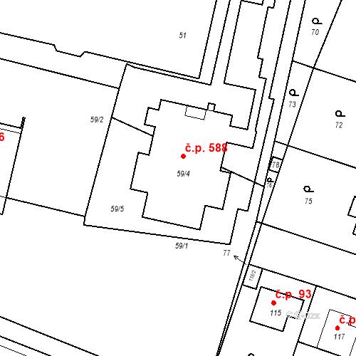 Katastrální mapa Stavební objekt Běchovice 588, Praha