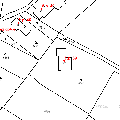 Katastrální mapa Stavební objekt Dubiny 39, Velké Popovice
