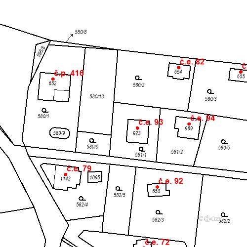 Katastrální mapa Stavební objekt Velké Popovice 93, Velké Popovice
