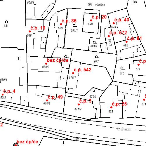 Katastrální mapa Stavební objekt Běchovice 542, Praha