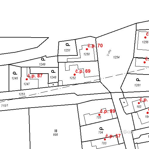 Katastrální mapa Stavební objekt Běchovice 69, Praha