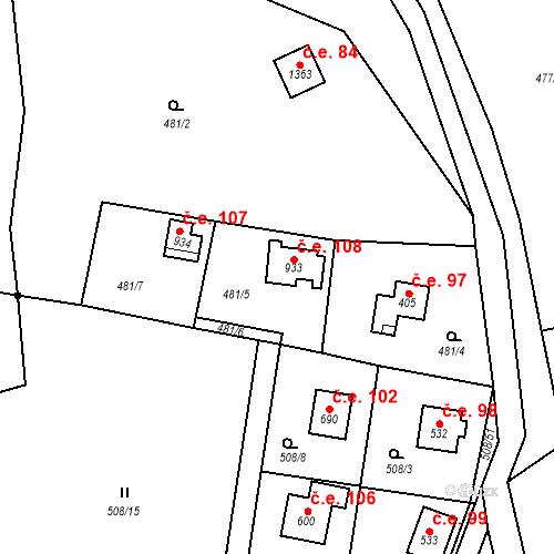 Katastrální mapa Stavební objekt Velké Popovice 108, Velké Popovice
