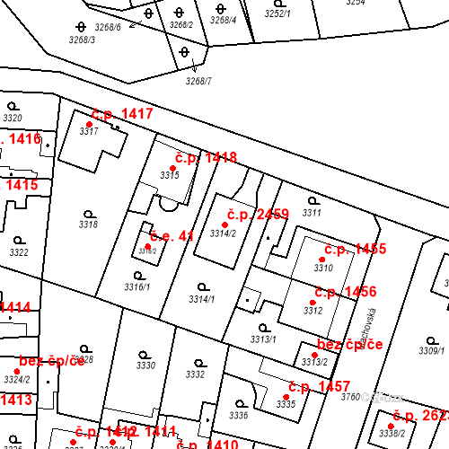 Katastrální mapa Stavební objekt Horní Počernice 2459, Praha