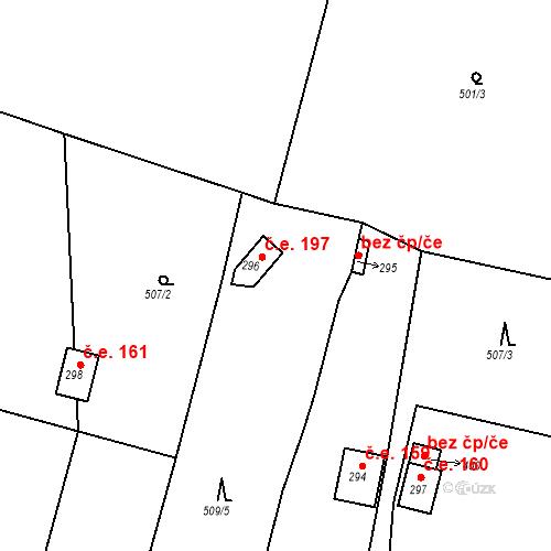 Katastrální mapa Stavební objekt Kozly 197, Tišice