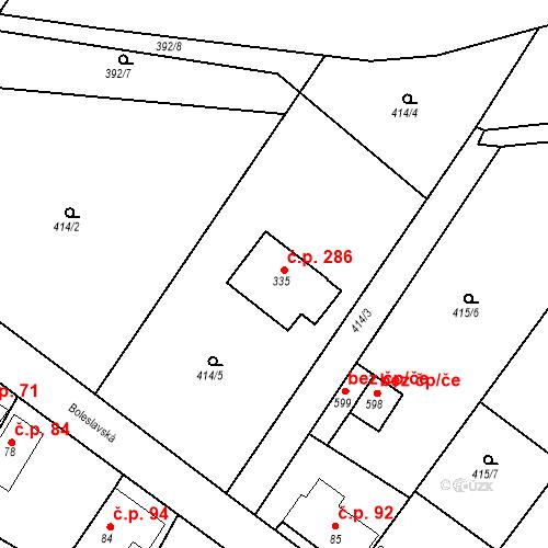 Katastrální mapa Stavební objekt Chrást 286, Tišice