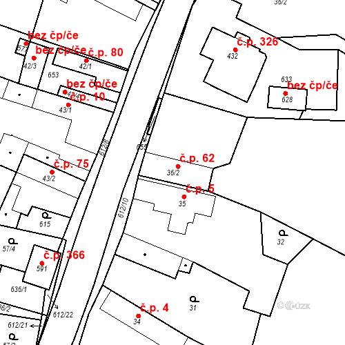 Katastrální mapa Stavební objekt Chrást 62, Tišice