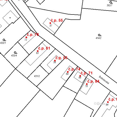 Katastrální mapa Stavební objekt Chrást 53, Tišice