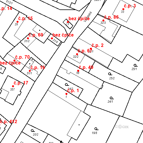 Katastrální mapa Stavební objekt Chrást 49, Tišice