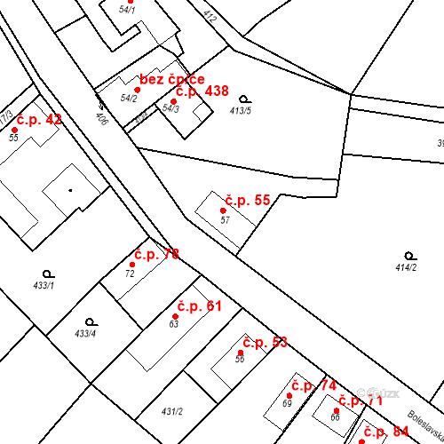 Katastrální mapa Stavební objekt Chrást 55, Tišice