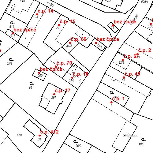 Katastrální mapa Stavební objekt Chrást 16, Tišice