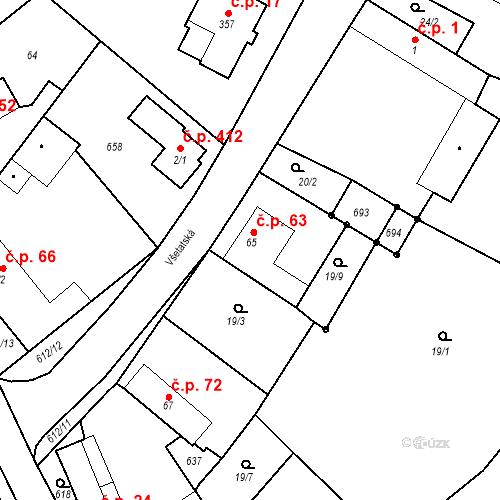Katastrální mapa Stavební objekt Chrást 63, Tišice