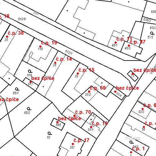 Katastrální mapa Stavební objekt Chrást 15, Tišice