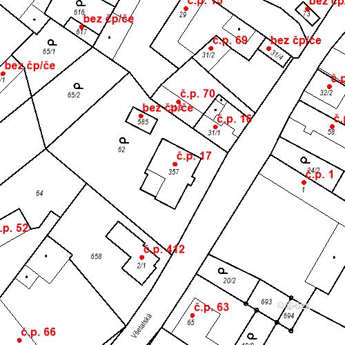 Katastrální mapa Stavební objekt Chrást 17, Tišice