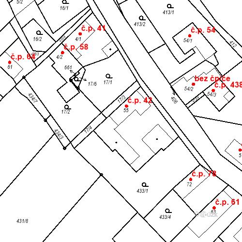 Katastrální mapa Stavební objekt Chrást 42, Tišice