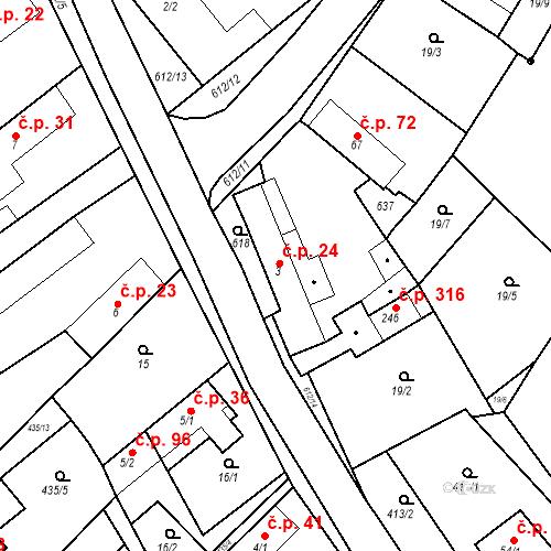Katastrální mapa Stavební objekt Chrást 24, Tišice