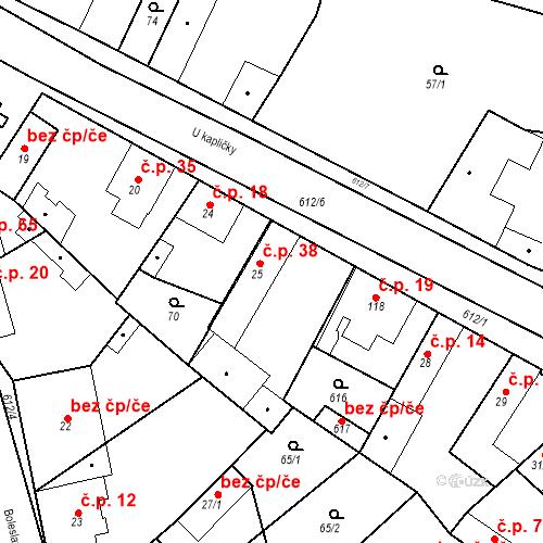 Katastrální mapa Stavební objekt Chrást 38, Tišice