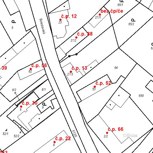 Katastrální mapa Stavební objekt Chrást 13, Tišice