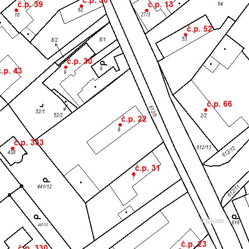 Katastrální mapa Stavební objekt Chrást 22, Tišice